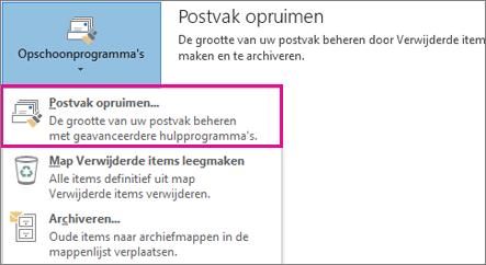 Het hulpprogramma Postvak opruimen