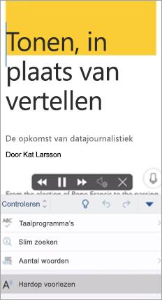 Hiermee wordt hardop voorlezen weergegeven in Word-app