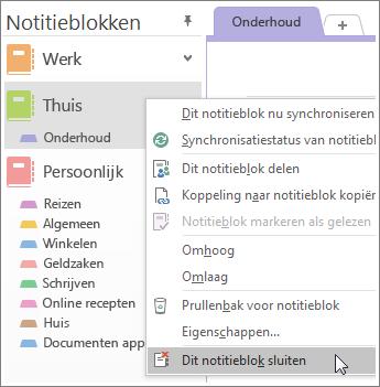Schermafbeelding van het sluiten van een notitieblok in OneNote 2016.