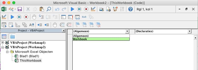 VB-editor met vervolgkeuzelijst voor objectselectie
