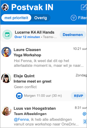 Toont Postvak IN van Outlook
