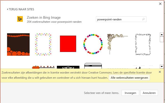 Resultaten van een zoekopdracht naar PowerPoint-randen in Bing.