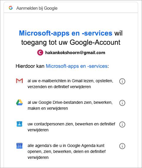 Google-machtiging aanvragen