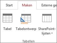 Opdracht op Access-lint voor Maken > Tabelontwerp