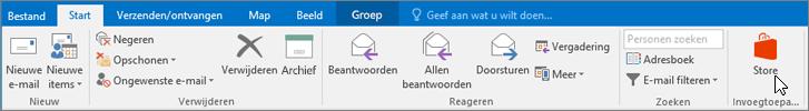 Schermafbeelding van het tabblad Start in Outlook, waarbij de cursor wijst naar het Store-pictogram in de groep Invoegtoepassingen.