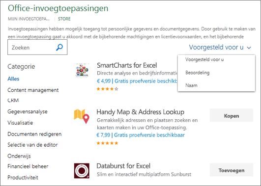 Schermafbeelding van de sectie Store van de pagina Office-invoegtoepassingen, waar u op beoordeling of naam kunt bladeren naar een invoegtoepassing of de optie Voorgesteld voor u kunt gebruiken. U kunt een invoegtoepassing ook vinden met behulp van het zoekvak.