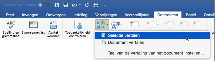 Tabblad Controleren met Selectie vertalen gemarkeerd