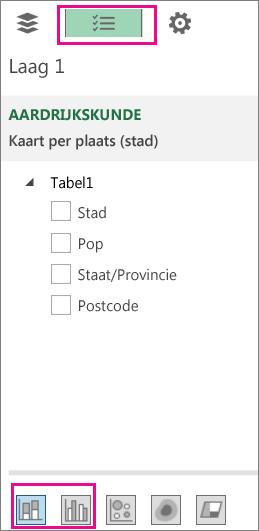 Pictogrammen Gestapelde en gegroepeerde kolomgrafieken op het tabblad Lijst met velden