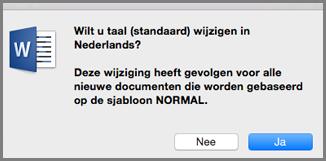 Standaardtaal in Office voor Mac