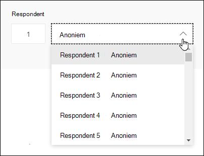 Een vervolgkeuzelijst met respondenten weergeven in Microsoft Forms