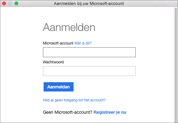 Voer de referenties voor uw Microsoft-account in om toegang te krijgen tot de services die aan uw account zijn gekoppeld.
