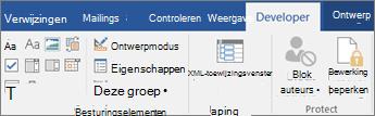 Klik op het tabblad ontwikkelaars in de groep besturingselementen op Eigenschappen