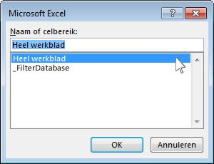 dialoogvenster microsoft excel in word
