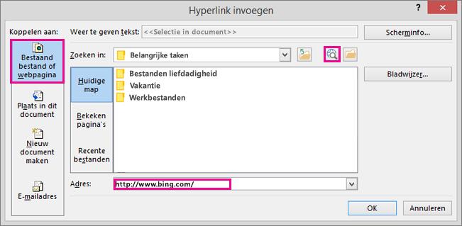 Dialoogvenster waarin de optie is geselecteerd om een koppeling naar een website in te voegen