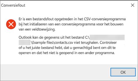 Dit is het foutbericht dat wordt weergegeven als het CSV-bestand leeg is.