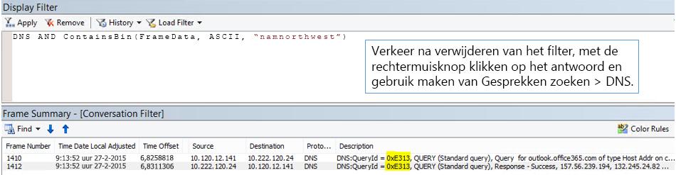 Een spoor gefilterd op Gesprekken zoeken en vervolgens met DNS.