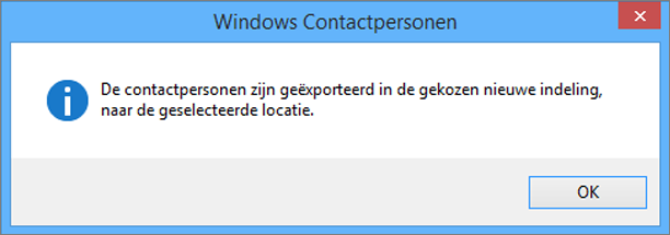 Na voltooiing verschijnt een bericht dat uw contactpersonen zijn geëxporteerd naar een .csv-bestand.
