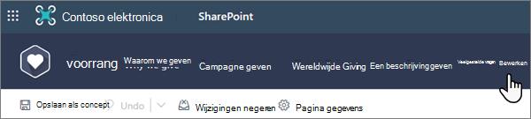 De optie bewerken boven aan een moderne SharePoint-pagina wanneer u op een site werkt