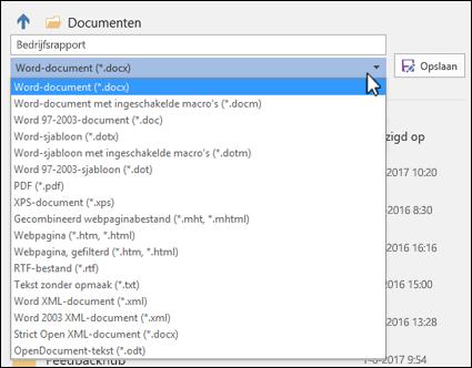 Klik op de vervolgkeuzelijst voor het bestandstype om een andere bestandsindeling voor het document te kiezen