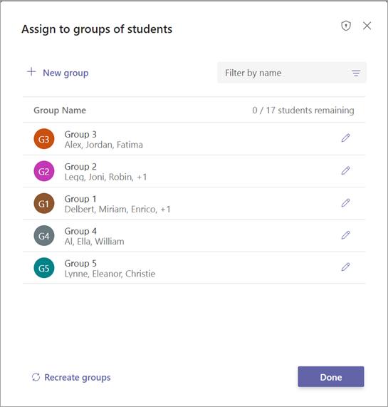 Lijst met studentengroepen met opties om te bevestigen of te bewerken
