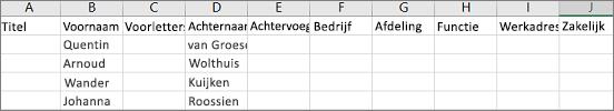 Voorbeeld van Outlook-CSV-bestand geopend in Excel