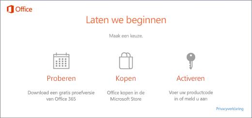Een schermopname met de standaardopties Proberen, Kopen of Activeren voor een pc waarop Office is voorgeïnstalleerd.