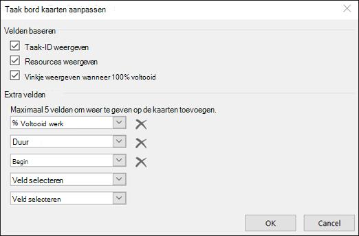 Instellingen voor kaart configuratie aanpassen