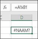 #NAAM? Fout bij gebruik van x met celverwijzingen in plaats van * om te vermenigvuldigen