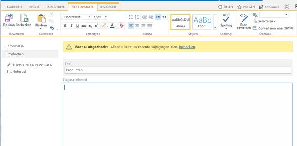 Schermafbeelding van een nieuwe publicatiepagina met een gele balk die aangeeft dat de pagina is uitgecheckt