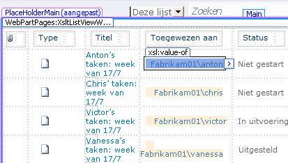 Lijstweergaven van SharePoint Designer