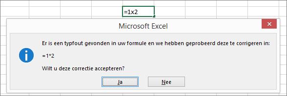 Berichtvenster waarin uw wordt gevraagd x te vervangen door * om te vermenigvuldigen