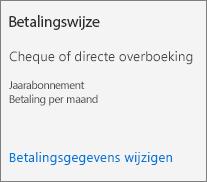 Schermafbeelding van de sectie Betalingswijze van een abonnementskaart voor een abonnement dat is betaald per factuur.