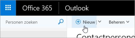 Een schermafbeelding van de aanwijzer boven de knop Nieuw op de pagina Personen.