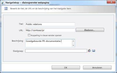Dialoogvenster Navigatiekop