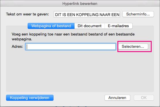 Toont het tabblad Hyperlink invoegen in PowerPoint 2016 voor Mac