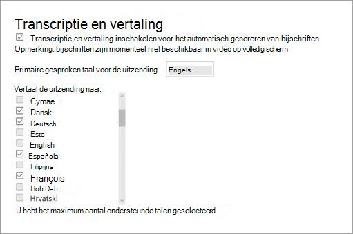 Schakel transcriptie en vertaling in