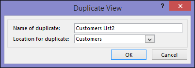 Duplicate view dialog showing name of duplicate box and location for duplicate box.