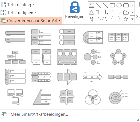 Toont de opties in de converteren naar de galerie SmartArt-afbeelding