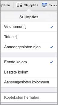 Opties voor tabelstijlen op de iPad