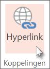 Klik op het tabblad Invoegen op Hyperlink.