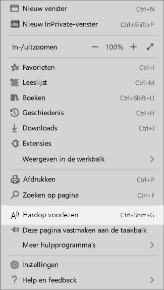 Vervolg keuzemenu instellingen in de Edge-browser