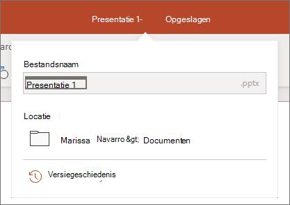 Klik op de bestandsnaam in het midden van de titelbalk boven aan het browservenster.