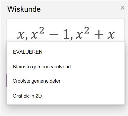 Lijst met matrices in de wiskunde assistent