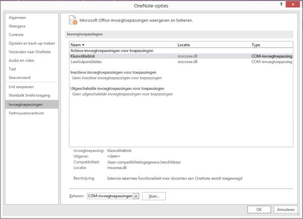 Deelvenster Office-invoegtoepassingen beheren met Class Notebook geselecteerd. Sectie voor het beheren van COM-invoegtoepassingen met de knop Ga.