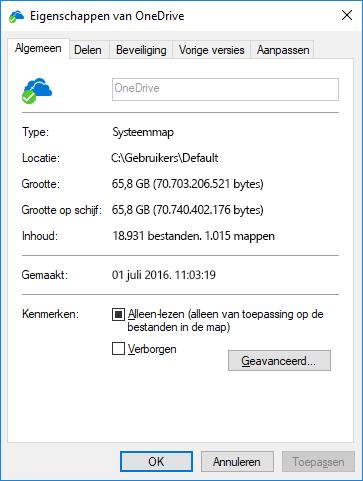 OneDrive-eigenschappen