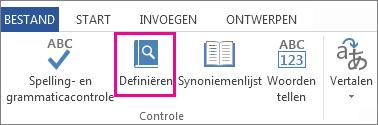 Afbeelding van de opdracht Definiëren op het tabblad Controleren