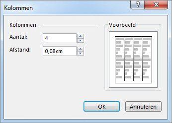 Schermafbeelding van Hulpmiddelen voor tekstvakken Meer kolommen in Publisher.