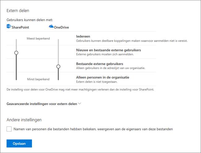 Instellingen voor delen in de OneDrive-beheercentrum