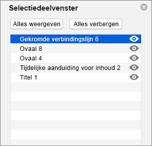 Geeft het Selectiedeelvenster weer in PowerPoint 2016 voor Mac