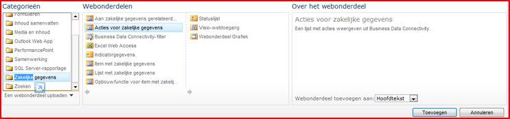 Het Excel Web Access-webonderdeel wordt weergegeven in de kiezer voor webonderdelen.